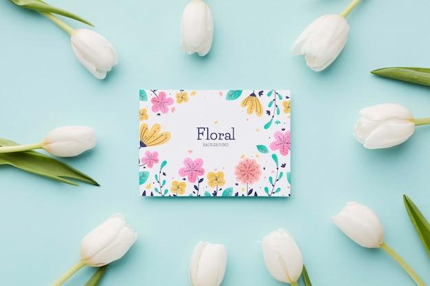 Lay flat de marco de tulipanes con tarjeta