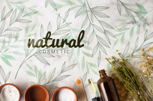 Lay flat de productos para el cuidado de la piel