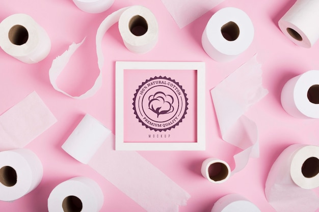 Lay flat de rollos de papel higiénico con marco