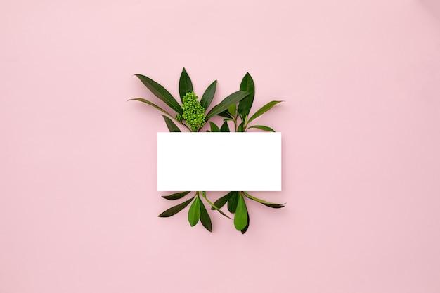 Lay-out gemaakt met groene bladeren en orchideebloemen