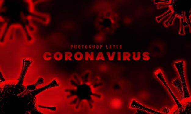 Le cellule microscopiche mediche del virus della corona si chiudono sulla rappresentazione del fondo 3d