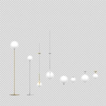 Le lampade isometriche 3d isolate rendono