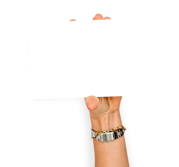 Le mani tengono lo spazio della copia del documento in bianco