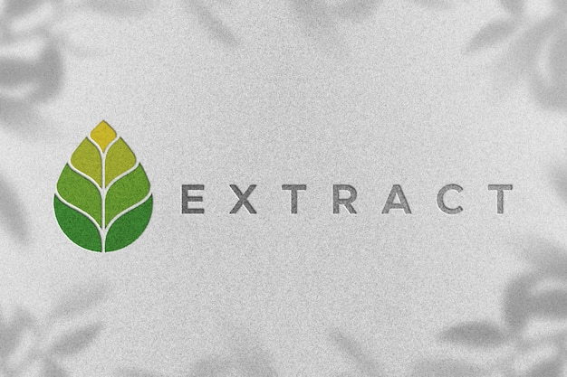 Leaf logo mockup op wit papier met schaduwen