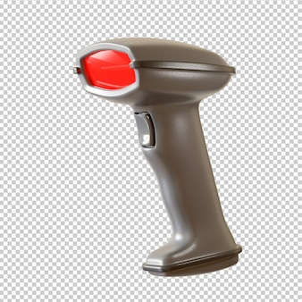 Lector de código de barras de escáner manual aislado sobre fondo blanco. representación 3d