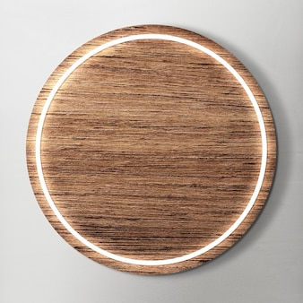 Led enmarcado en maqueta de fondo de madera redonda