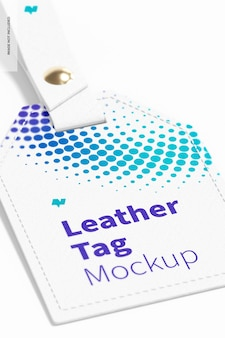 Lederen labels mockup, close-up