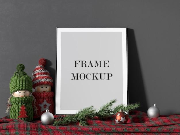 Leeg afbeeldingsframe mockup voor nieuwjaarsvakantie