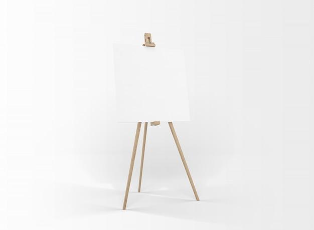 Leeg canvas op een houten ezel geïsoleerd