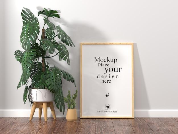 Leeg fotoframe voor mockup in de woonkamer