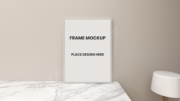Leeg fotolijst poster mockup-ontwerp in interieur