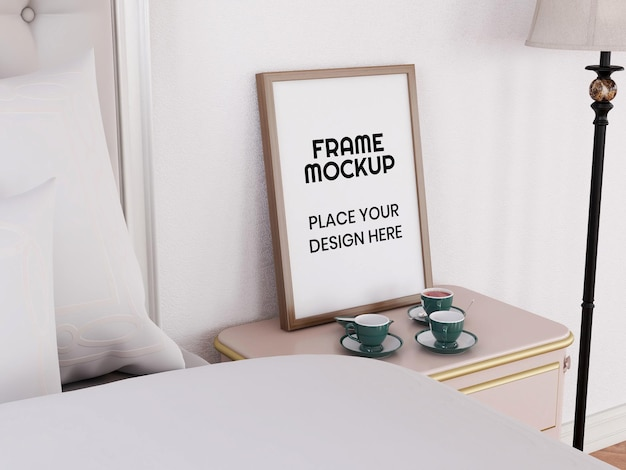 Leeg fotolijstmodel in de slaapkamer Premium Psd