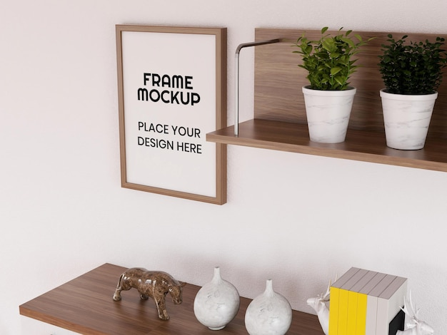Leeg fotolijstmodel in de woonkamer