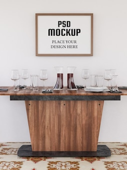 Leeg fotolijstmodel realistisch in de keuken