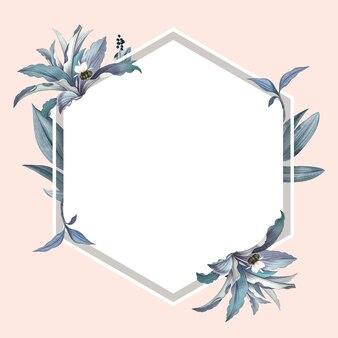 Leeg frame met blauw bladerenontwerp
