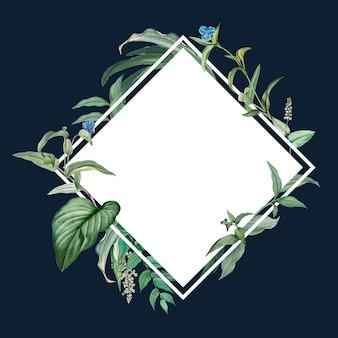 Leeg frame met groen bladerenontwerp