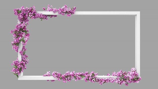 Leeg rechthoekkader met roze bougainvillea aquarel filter