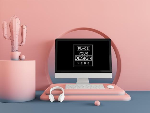 Leeg scherm computermodel op moderne achtergrond