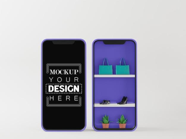 Leeg scherm slimme telefoon computermodel. online winkel