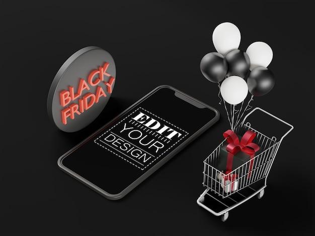 Leeg scherm slimme telefoon computermodel voor zwarte vrijdag