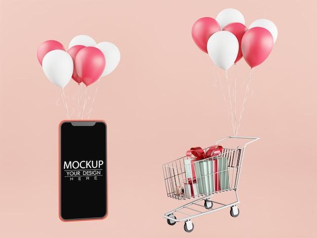 Leeg scherm slimme telefoon mockup en winkelwagentje met ballonnen