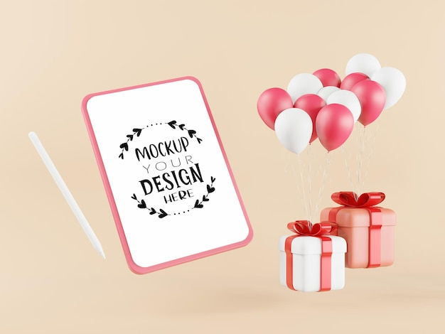 Leeg scherm tabletmodel met geschenkdozen