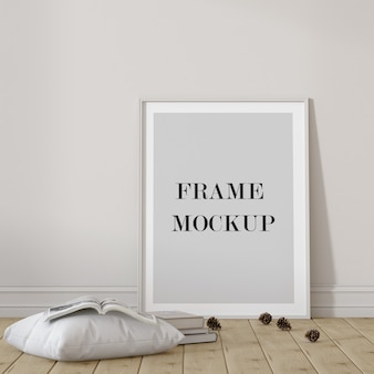 Leeg wit frame mockup met kussen