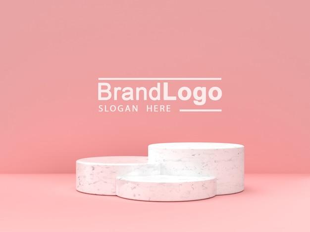 Leeg wit marmeren podium op pastel roze kleur achtergrond. 3d-weergave.