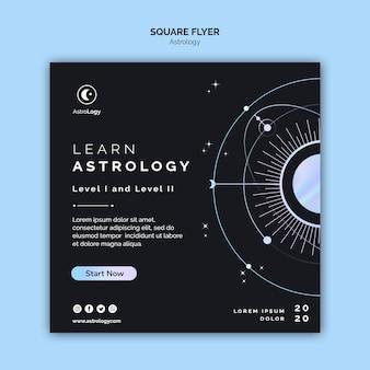 Leer astrologie vierkante flyer