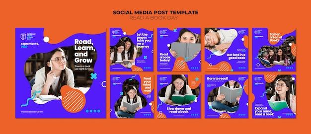 Leer una publicación del día del libro en las redes sociales