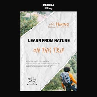 Leer van de natuur wandelen poster sjabloon