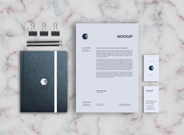 Leerstijlen notebook & briefhoofd stationaire mockup-sjabloon