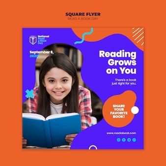 Lees een vierkante flyer voor een boekdag