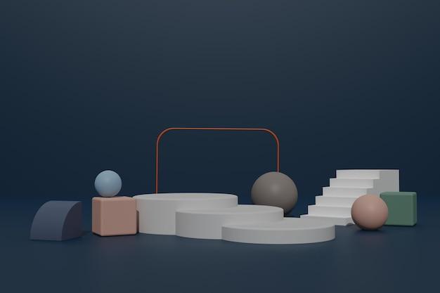 Lege 3d render podium achtergrond met geometrische vorm