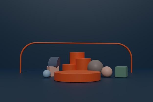 Lege 3d render podiumachtergrond met geometrische vorm voor productweergave
