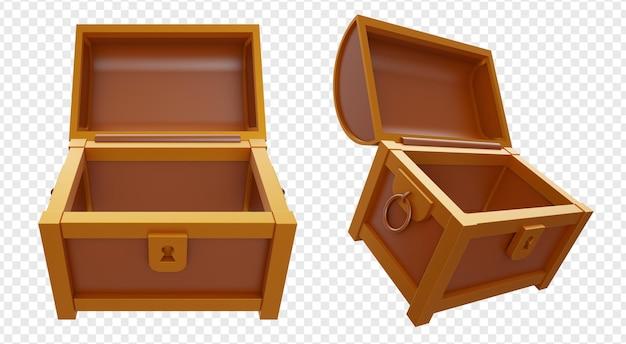 Lege geopende schatkistdoos met gouden en bruine geïsoleerde kleur
