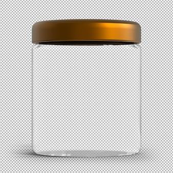 Lege glazen pot geïsoleerd op transparante muur. witte dekselfles met metalen dop. 3d pot.