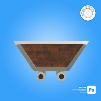 Lege mijnkar houtstructuur 3d-object