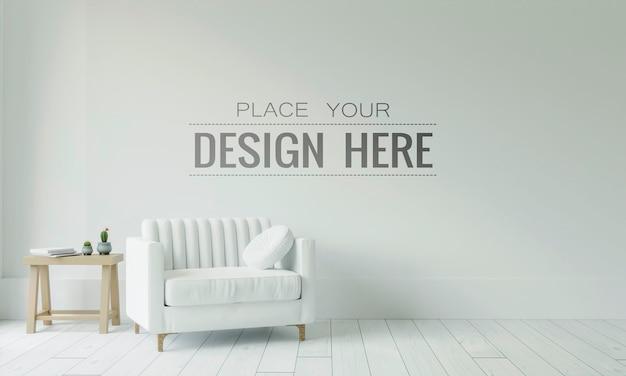 Lege muur interieur meubels 3d psd mockup