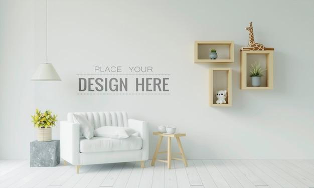Lege muur interieur meubels 3d psd mockup Gratis Psd