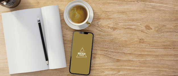 Lege notebook met smartphone leeg scherm mockup koffie kopie ruimte op houten tafel