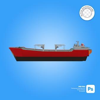 Lege vrachtschip zijaanzicht 3d-object