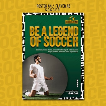 Legend school of soccer poster sjabloon