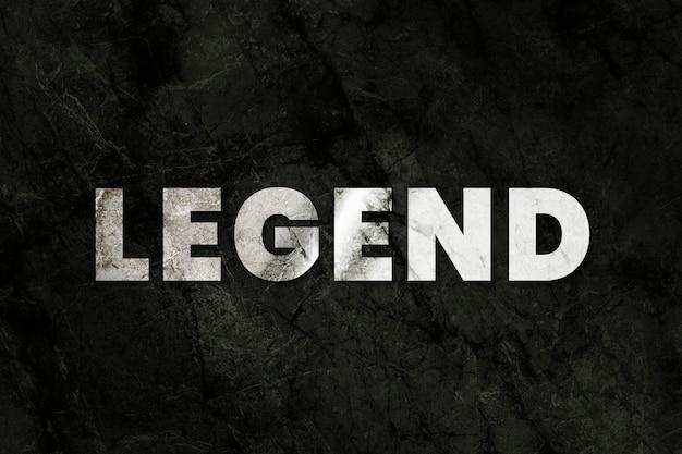 Legendatekst psd in metalen stijl