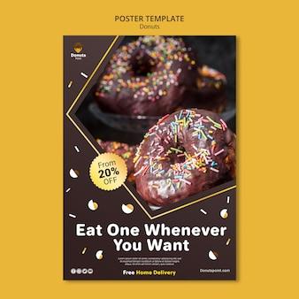 Lekkere donuts poster sjabloon met foto