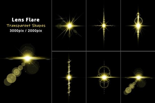 Lens flares collectie in gouden stijl