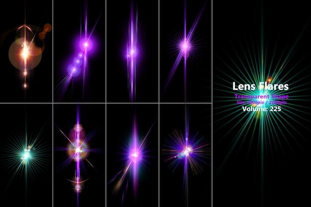 Lens flares en licht realistisch gekleurde set isoleren