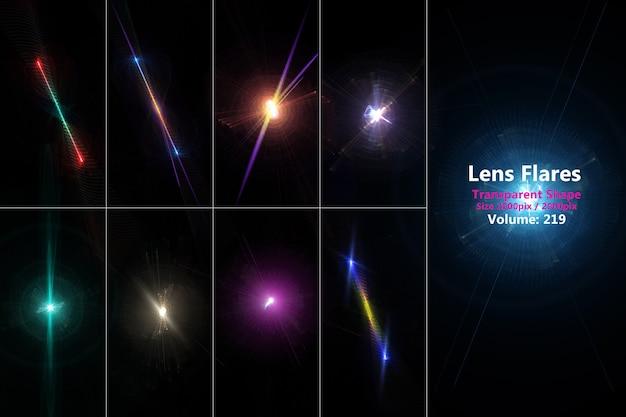 Lens flares realistisch gekleurde set isoleren