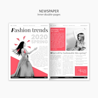 Lente modetrends innerlijke dubbele pagina's krant