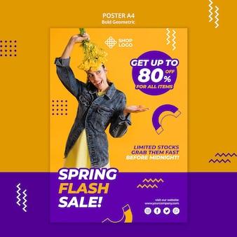 Lente verkoop vet geometrisch model poster sjabloon